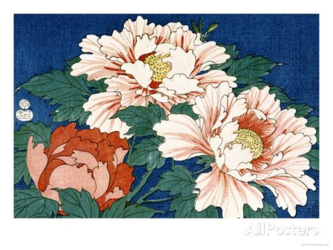 Three Stems of Peonies on a Blue Background, 1857 Art Print