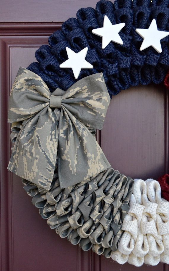 Rustic Air Force Burlap Wreath Camouflage by CreativWreathConcept