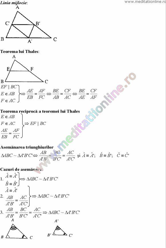 Formule matematica gimnaziu 5 8 Formule si teorie Geometrie plana si in spatiu si Trigonometrie pagina 6