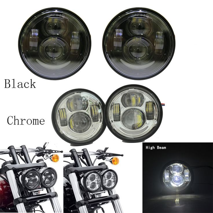 DOT Approved Pair Fat Bob Dual LED Headlight 4.5'' harley motorcycle headlamps for Harley Dyna Fat Bob FXDF Head Lights