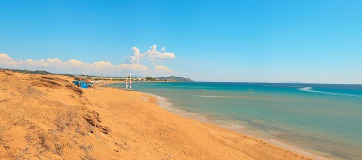 Issos beach - perhaps the most spectacular beach of the island, with huge sand dunes, golden sands, a rare cedar forest and lake Korission behind it. https://greece.terrabook.com/corfu/page/issos #Greece #Corfu #terrabook #GreekIslands #TravelTips #Travel #GreeceTravel #GreekPhotos #Traveling #Travelling #Holiday #Summer
