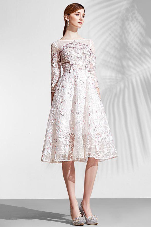 61fae1d45586 robe mi longue rose patineuse en dentelle avec manche longue pour  fiançailles