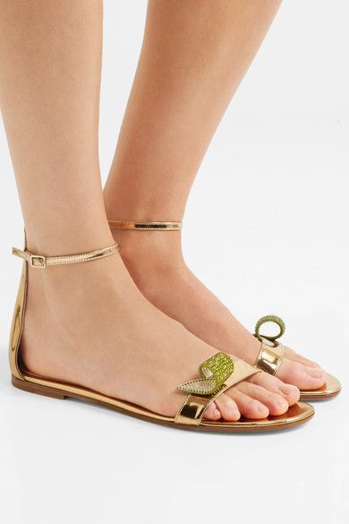 Gianvito Rossi - Crystal-embellished Metallic Leather Sandals - Gold - IT40.5