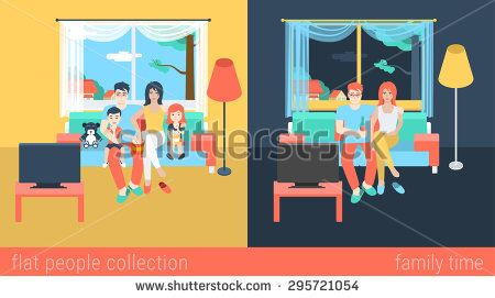 #Vector #flat family watch TV. Parents with children.