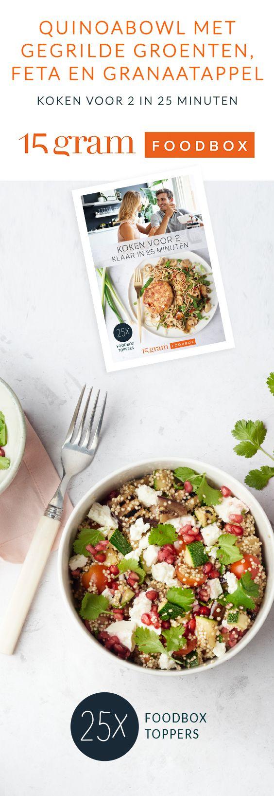 Een heerlijke hippe quinoabowl met lekkere gegrilde groentjes, een frisse citroendressing, feta en afgewerkt met granaatappelpitjes. Laat het smaken!