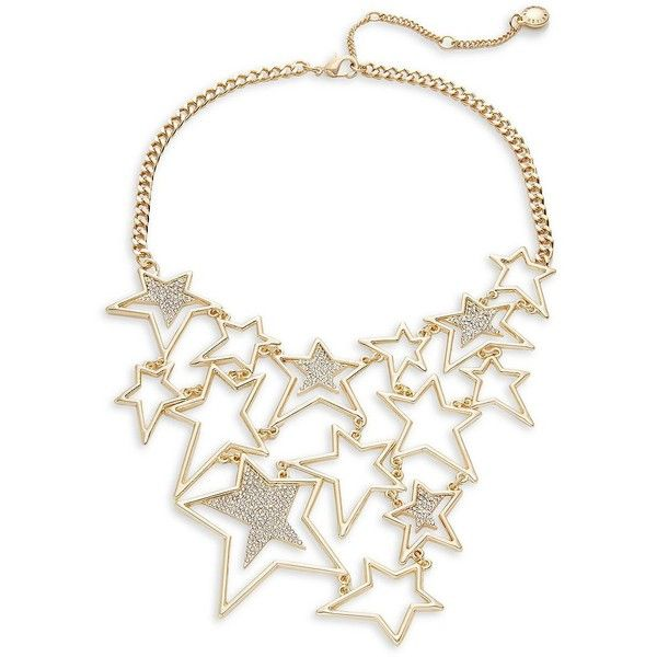 BCBGeneration Star Crystal Statement Necklace ($62) ❤ liked on Polyvore featuring jewelry, necklaces, rose gold, crystal stone jewelry, crystal stone necklace, gold tone necklace, bib statement necklaces and crystal jewellery