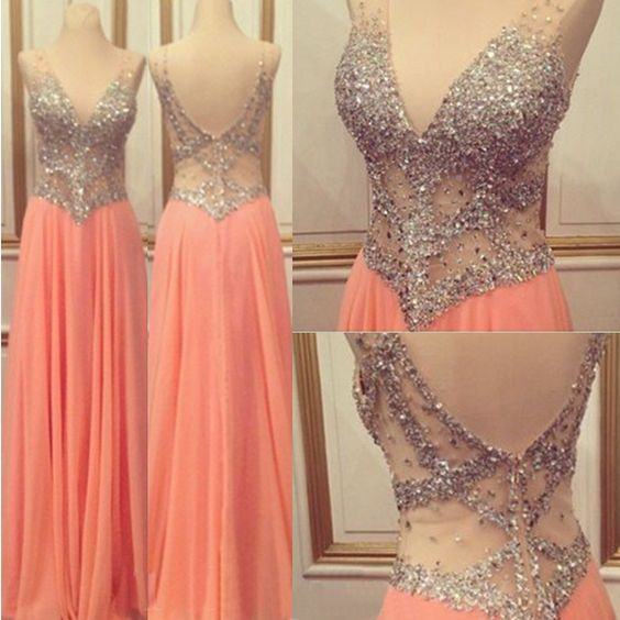 The+See+through+Peach+Long+prom+Dresses+are+fully+lined,+8+bones+in+the+bodice,+chest+pad+in+the+bust,+lace+up+back+or+zipper+back+are+all+available,+total+126+colors+are+available.+ This+dress+could+be+custom+made,+there+are+no+extra+cost+to+do+custom+size+and+color.  Description+ 1,+Materia...