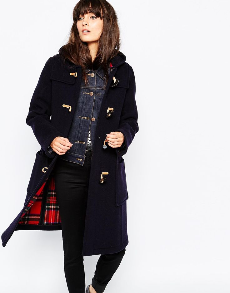 Gloverall Slim Fit Duffle Coat With Tartan Lining