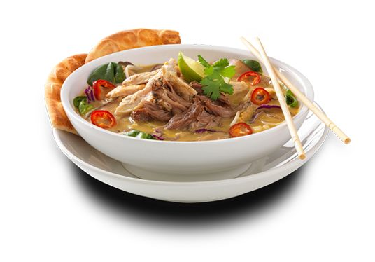 Noodles & Company   Thai Hot Pot - 30 ingredient curry broth, fresh cabbage blend, sprouts, Fresno peppers, shiitake mushrooms, a sprinkling of rice noodles, pulled chicken and pork. Finished with a lime wedge and a sprig of cilantro and served with a side of toasted Asian flatbread.