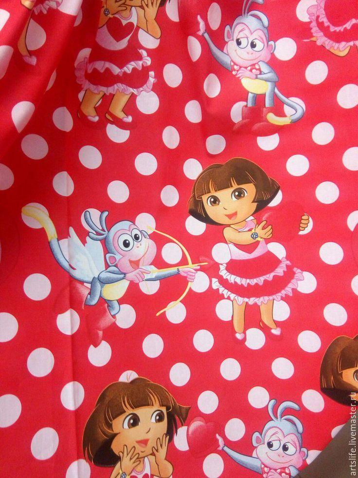 Купить Портьерная ткань сатин хлопок 349417 красная горох - ярко-красный, шторы для девочки