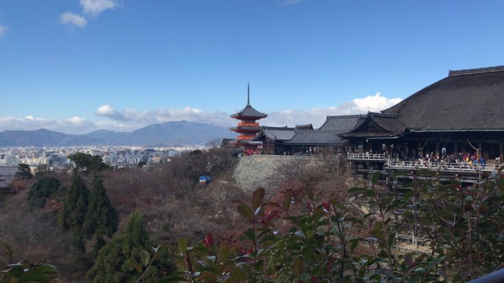 Kiyomizudera temple is found in eastern Kyoto and was constructed without nails in 780 by the Otowa water falls. Known for its large wooden stage, panoramic views of Kyoto are found atop beautiful maple and cherry blossom trees.