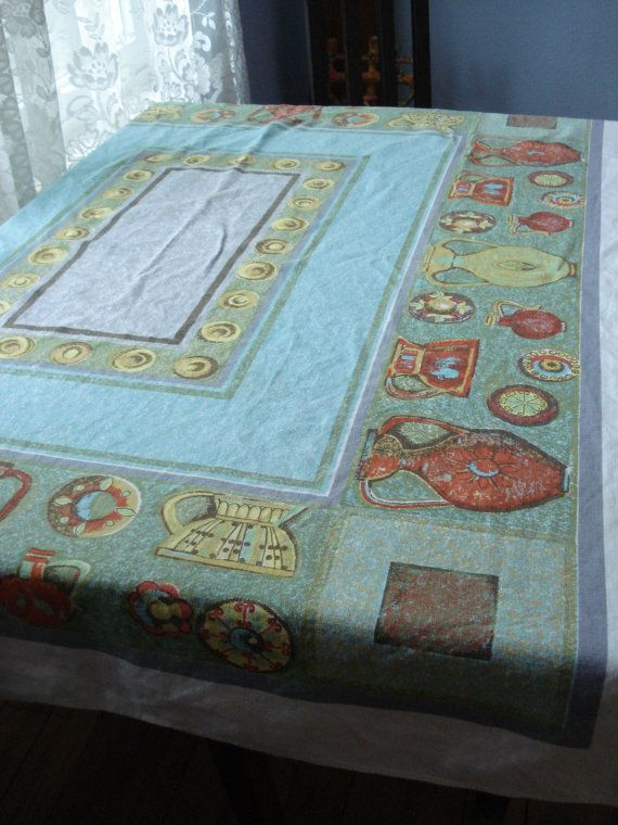 Vintage 1950s MidCentury Tablecloth Rectangle by bycinbyhand, $65.00