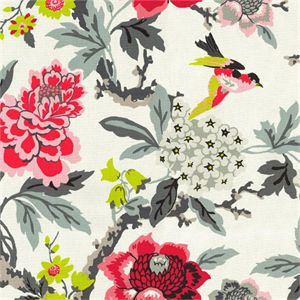 This is a pink, gray and white floral and bird drapery fabric, suitable for drapes, pillows and bedding. v004EEF