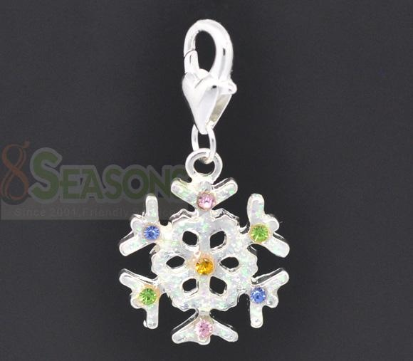 Silver Plated Multicolor Rhinestone Christmas Snowflake Charm Pendants 22x19mm, sold per packet of 10.Cute Pendants $2.68