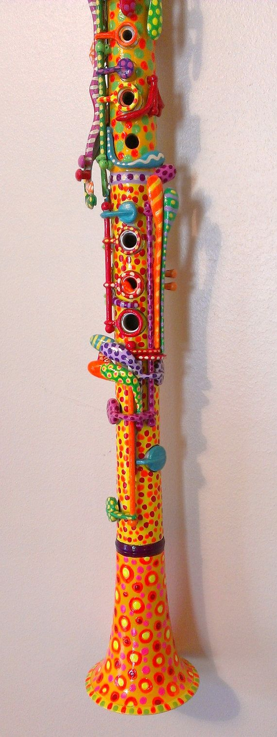 Bright Hand Painted Clarinet by BeesCuriosityShoppe on Etsy, $295.00