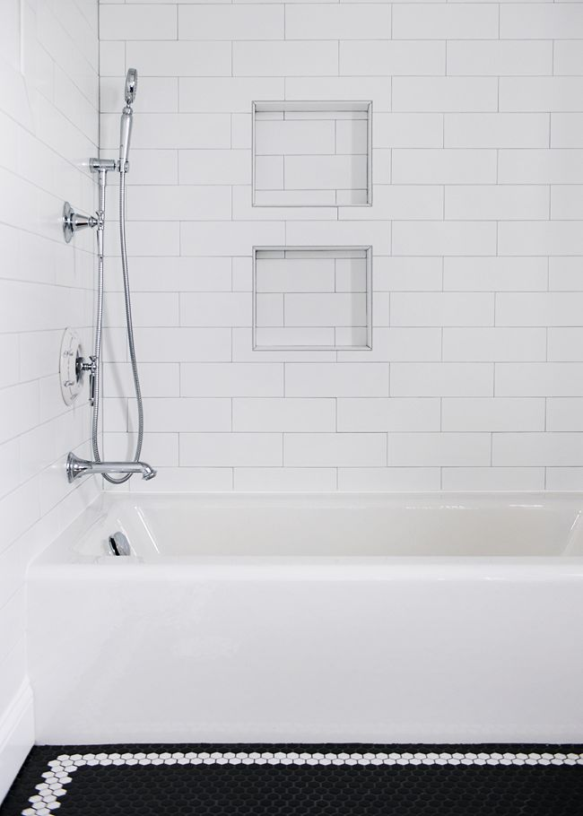 Black And White Hex Tile With Oversized Subway Tile In Our