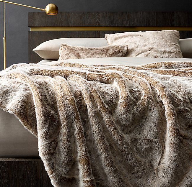 RH Modern's Luxe Faux Fur Oversized Bed Throw - Lynx:FREE SHIPPING Our sumptuous queen-size blanket is artfully woven from finely spun strands that re-create the natural weight, depth of color and indulgent softness of genuine fur.