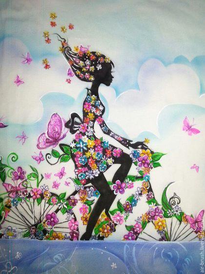 Девушка на велосипеде' в интернет-магазине на Ярмарке Мастеров. Девочка-весна... Картинка для рисунка на футболке предоставлена заказчиком Техника нанесения рисунка аэрография, добавлена кисть, закреплен термическим способом стирки не боится.
