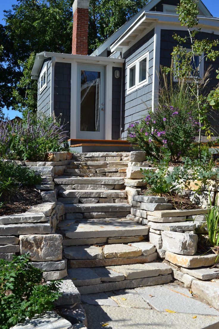 natural stone steps with perennials