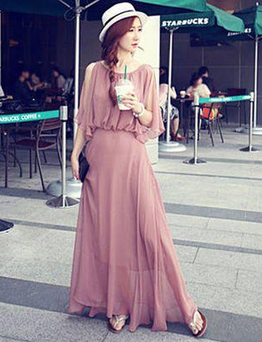 Elegant Swinging Cape Design Gathered Waist Maxi Chiffon Dress