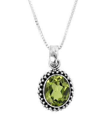 Look what I found on #zulily! Peridot & Sterling Silver Oval Pendant Necklace #zulilyfinds