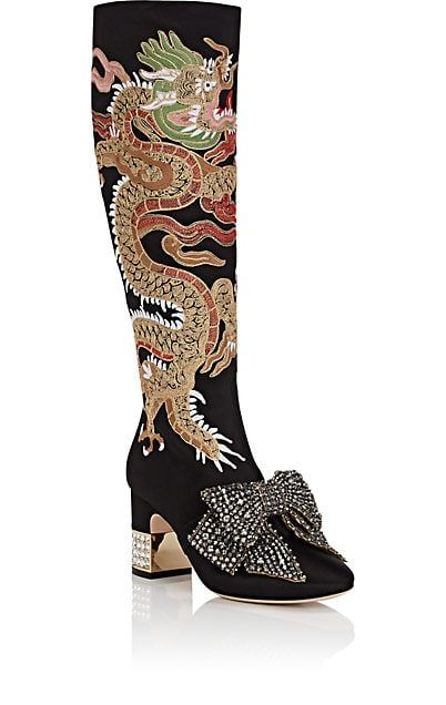 a3c0fe41636 Gucci Candy Embroidered Satin Knee Boots - Boots - 505169597