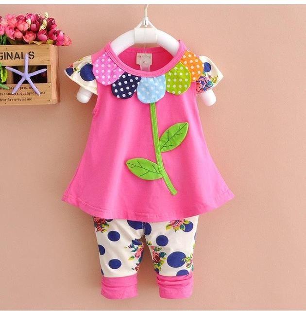 e1f572aea2 Barato 2016 verão conjunto de roupas meninas do bebê Coreano crianças arco  gato…