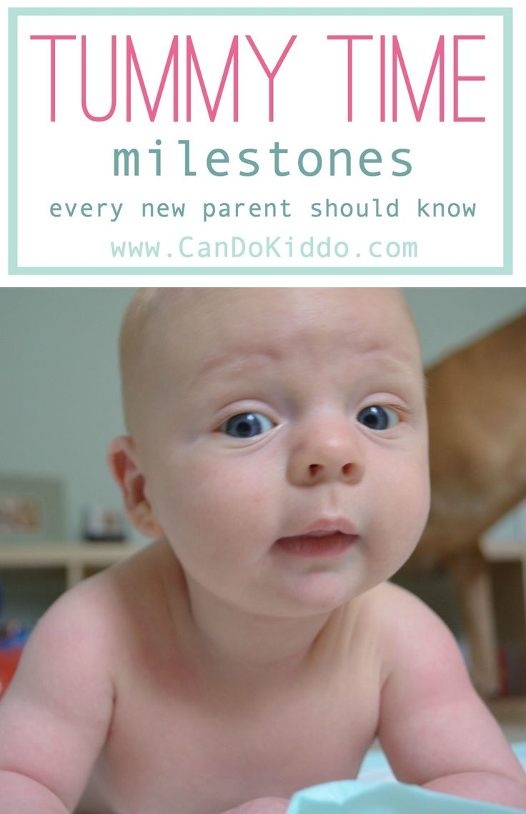 Great breakdown of all the teeny, tiny mini-milestones babies overcome during tummy time in order to learn to push up, roll, and even crawl! #pediOT #childdevelopment #babies