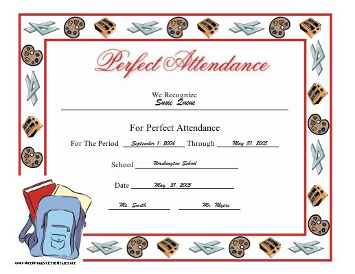 Best Certificates Images On   Perfect Attendance