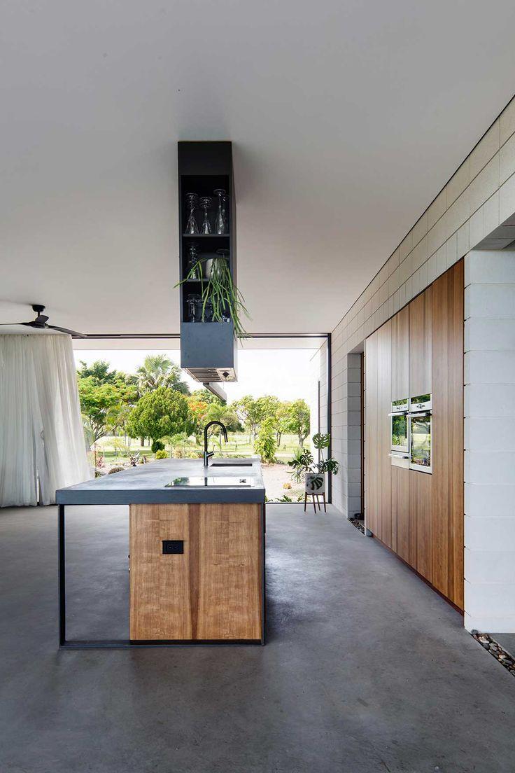 Inverdon House Chloe Naughton kitchen, island rangehood integrated into shelving