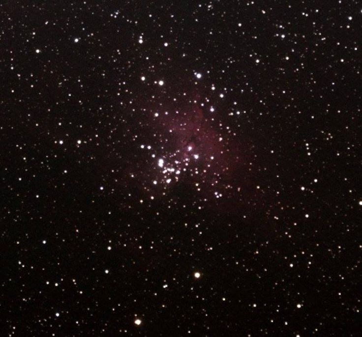 """Crop of the last photo...not so great but you can make out the """"Pillars of Creation"""" a.k.a. """"the eagle"""" part of the nebula."""