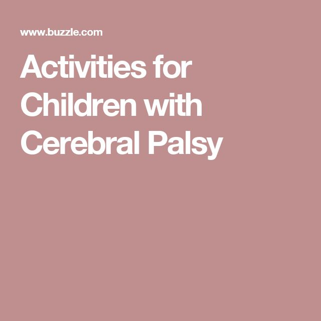 Activities for Children with Cerebral Palsy