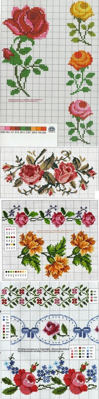 Мелкие цветочки / Вышивка / Схемы вышивки крестом