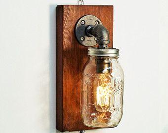 Industriële schans licht lamp-Mason muur licht lamp-Steampunk muur licht lamp-Edison lamp schans-bed muur lamp-rustieke moderne lamp licht