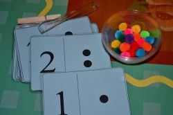 Pom pom counting cards and other busy bags