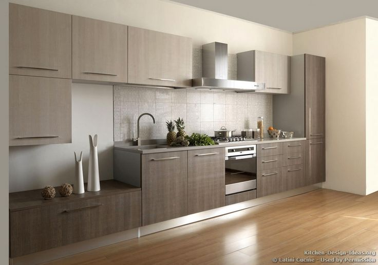 #Kitchen Idea of the Day: A contemporary Italian kitchen featuring gray cabinets and wood floors. By Latini Cucine.