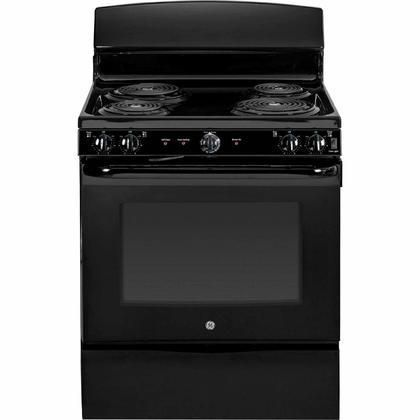 """JB450DFBB 30"""" 5.0 cu. ft. Oven Capacity Free-Standing Electric Range Upfront Controls Self Clean Oven Coil Heating Elements Duel-Element Bake Storage Drawer in Black"""