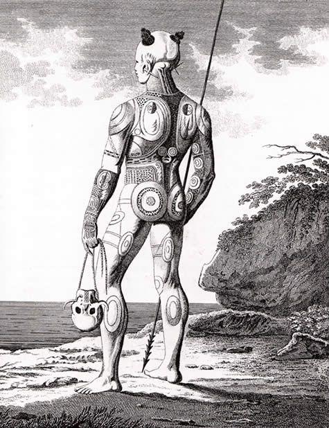 Tattoo History, Polynesian Tattoo, Warrior, not yet fully tattooed body