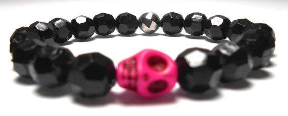 Pink Skull Stretch Plastic Bracelets  Arm Candy  by ShopJosette