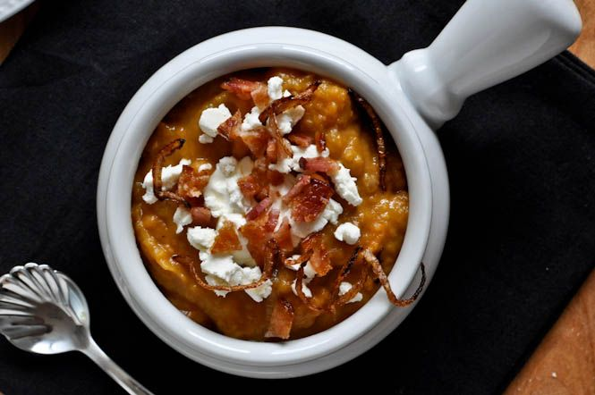 Loaded baked sweet potato soup from HowSweetItIs Baked Sweet Potatoes ...