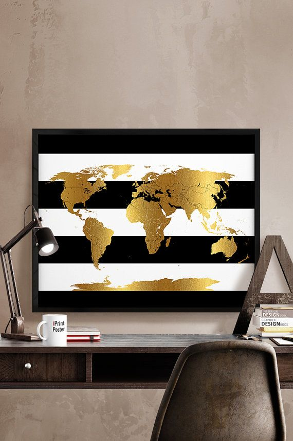 Gold world map, detail world map, world map with simulation of gold, world map poster, wedding gift, home decor, wall decor, iPrintPoster.  Art