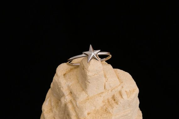Tiny north star 925 sterling silver ring by Wavejewels on Etsy