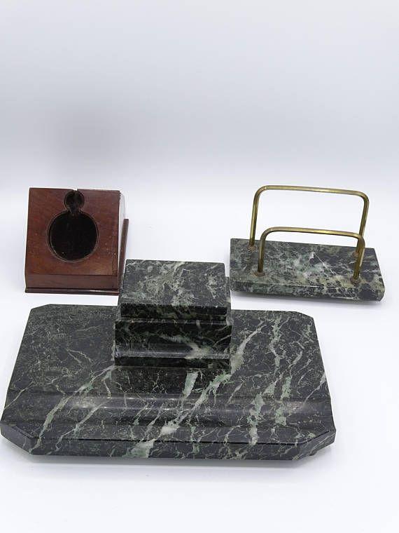 Green Marble Art Deco Desk Set and Wooden Porte Montre Inkpot