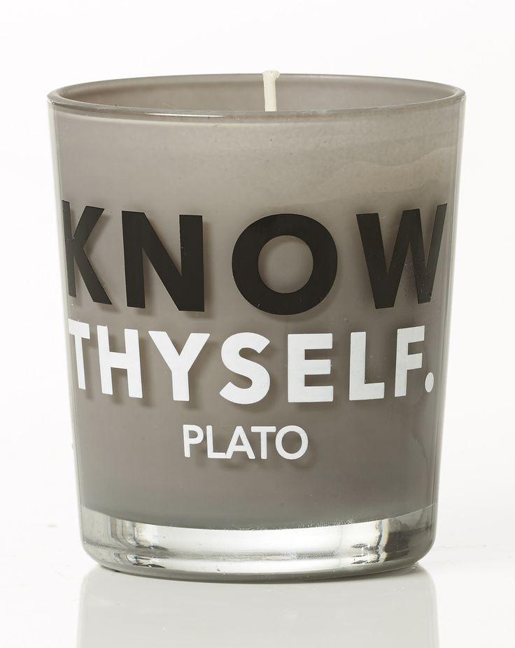 Know thyself - Plato. Lavender scent. Dimension: D8x9cm. Material: paraffin.