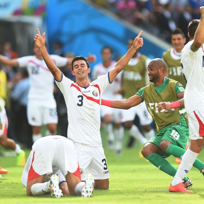 Giancarlo Gonzalez celebrates Costa Rica win - Rock at the back ... Giancarlo Gonzalez was immense in defence against Italy.