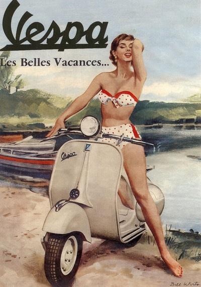 French Vespa Postcard