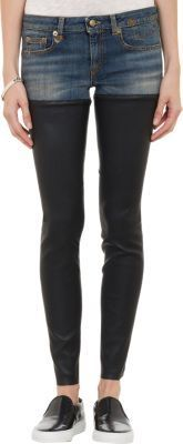 $995, R 13 R13 Denim Leather Jeans Blue. Sold by Barneys New York.