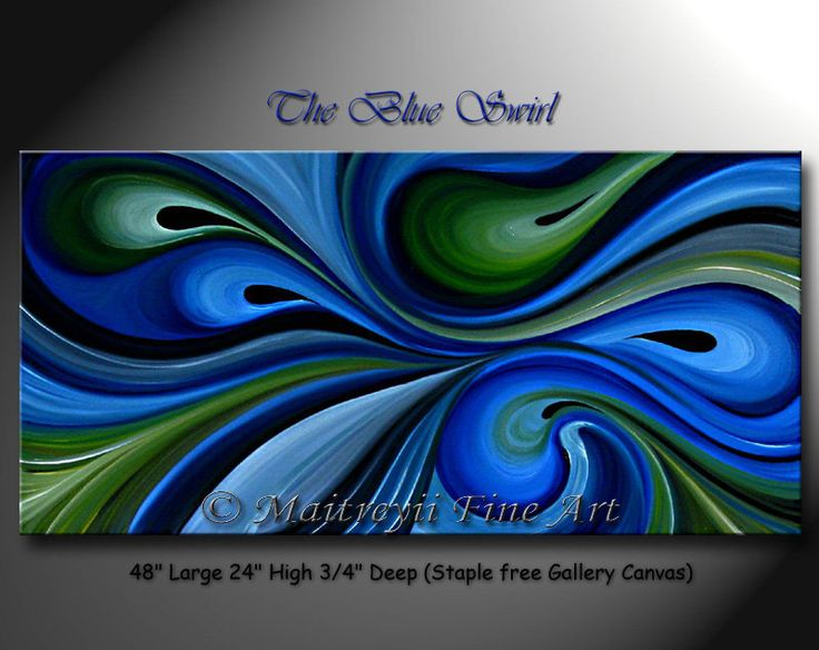 Blue Swirl Unique Oil Painting Modern Red Abstract Art Texture Palette Knife art Canvas ORIGINAL artwork by Maitreyii 48 x 24