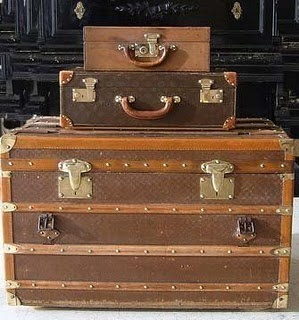 British colonial suitcases/trunks. great colors