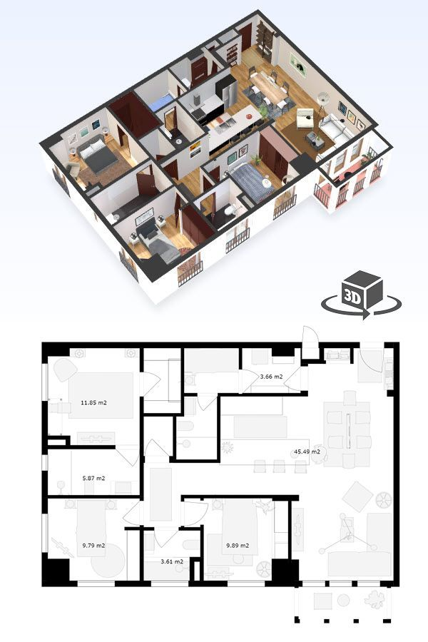 3 Bedroom Apartment Floor Plan In Interactive 3d Get Your Own 3d Model Today At Http Planto3d Com Bedroom House Plans House Plans Condo Floor Plans